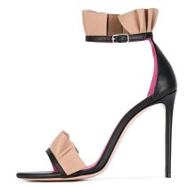 Arden Furtado summer 2019 fashion trend women's shoes stilettos heels buckle pleated party shoes sandals ladylike temperament party shoes office lady