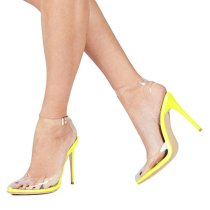 Arden Furtado Europe and America summer 2019 fashion trend women's shoes stilettos heels PVC sandals transparent narrow band office lady party shoes