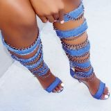 Arden Furtado summer 2019 fashion trend women's shoes stilettos heels zipper sandals blue denim cool boots novelty metal decoration