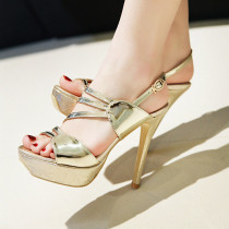 Arden Furtado summer 2019 fashion trend women's shoes pointed toe waterproof gold sandals party shoes office lady narrow band