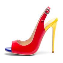 Arden Furtado summer 2019 fashion trend women's shoes peep toe stilettos heels sandals red party shoes big size 43 mixed colors