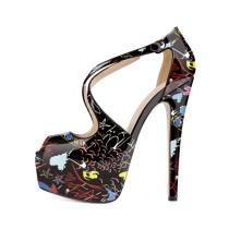 Arden Furtado summer 2019 fashion trend women's shoes peep toe stilettos heels classics  big size 45 buckle sandals pure color party shoes