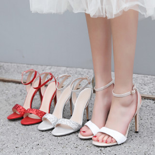 Arden Furtado summer 2019 fashion women's shoes stilettos heels pure color red white sandals big size 46 sweet wedding shoes