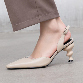 Arden Furtado summer 2019 fashion pure color trend women's shoes leather pointed toe small size 32 big size 42 chunky heels buckle pumps party shoes  elegant