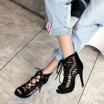Arden Furtado summer 2019 fashion trend women's shoes Europe and America pure color yellow big size 45  platform cool boots cross lacing sexy sandals elegant