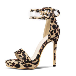 Arden Furtado summer 2019 fashion trend women's shoes stilettos heels sandals concise small size 28  big size 54 leopard print  sexy elegant party shoes