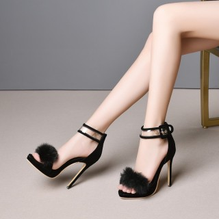 Arden Furtado summer 2019 fashion trend women's shoes online celebrity joker  pure color small size 28  big size 54 party shoes  stilettos heels sandals buckle