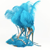 Arden Furtado summer fashion women's shoes stilettos heels red rose red yellow white blue sandals feather sandals sexy elegant party shoes