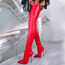 Arden Furtado spring and autumn 2019 fashion women's shoes pointed toe stilettos heels zipper over the knee high boots sexy big size 43 elegant ladies boots concise mature office lady