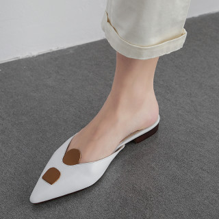 Arden Furtado summer 2019 fashion trend women's shoes pointed toe sexy elegant pure color big size 41 leather mules slippers