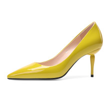 Arden Furtado spring 2019 fashion trend women's shoes pointed toe stilettos heels sexy yellow office lady party shoes elegant pumps slip-on pure color