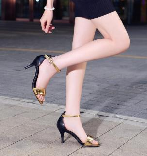 Summer 2019 fashion trend women's shoes buckle blue stilettos heels sandals silver narrow band office lady mature gold