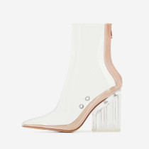 Arden Furtado summer 2019 fashion trend women's shoes pointed toe chunky heels zipper  big size 43 pure color transparent PVC cool boots