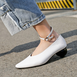 Arden Furtado summer 2019 fashion women's shoes pointed toe special-shaped heels genuine leather pumps buckle strap big size 42