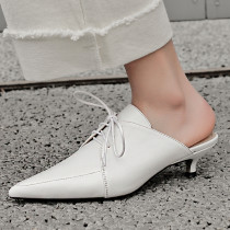 Arden Furtado summer 2019 fashion trend women's shoes pointed toe stilettos heels pure color white concise mules leather slippers concise big size 42