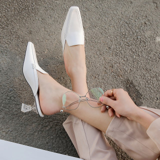 Arden Furtado summer 2019 fashion trend women's shoes chunky heels elegant genuine leather white mules slippers ladylike big size 41