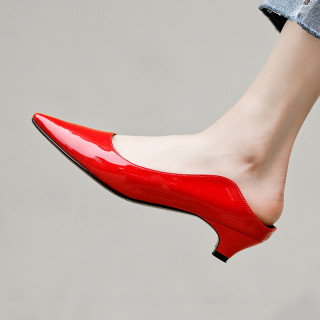Arden Furtado 2019 fashion women's shoes pointed toe cone heels red yellow big size elegant mules ladies slippers