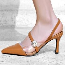 Arden Furtado summer 2019 fashion trend women's shoes pointed toe stilettos heels pure color classics office lady buckle party shoes  sandals