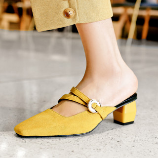 Arden Furtado summer 2019 fashion trend women's shoes joker pure color slippers mules ladylike temperament office lady concise party shoes   big size 42
