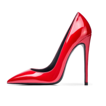 Arden Furtado summer 2019 fashion trend women's shoes pointed toe stilettos heels slip-on red sexy pure color elegant pumps small size 33 big size 45