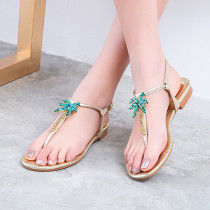 Arden Furtado summer 2019 fashion women's shoes flat narrow band buckle strap silver sandals leather crystal flowers flip flops
