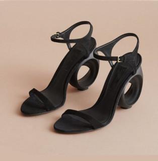 summer high heels strange shaped heels genuine leather white black high heels sandals big size 41