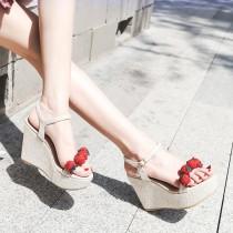 Arden Furtado summer high heels 10cm wedges platform strawberry fashion sandals buckle strap shoes woman girls