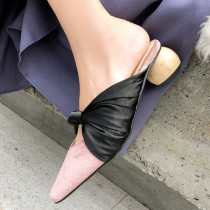 Arden Furtado summer 2019 fashion women's shoes pink pointed toe butterfly-knot special-shaped heels mules slippers big size 43