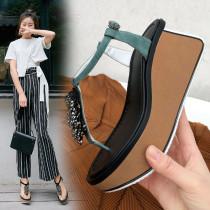 2019 summer high heels buckle strap platform sandals wedges crystal rhinestone women's shoes