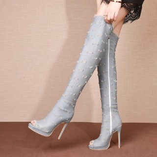 Arden Furtado summer 2019 fashion trend women's shoes office lady concise pure color denim zipper over the knee high boots knee high boots