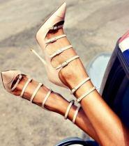 Arden Furtado summer 2019 fashion trend women's shoes pointed toe concise stilettos heels  big size 47 pure color buckle pumps