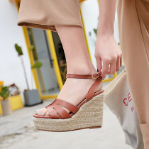 Arden Furtado summer 2019 fashion trend women's shoes pure color wedges sandals waterproof narrow band concise classics