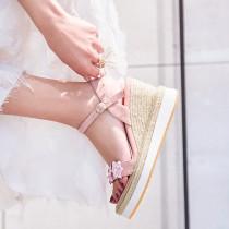 Arden Furtado summer 2019 fashion trend women's shoes elegant buckle sweet flowers sandals concise classics pink big size 40
