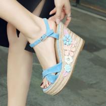Arden Furtado summer 2019 fashion trend women's shoes pure color waterproof flower buckle apricot sandals ladylike temperament
