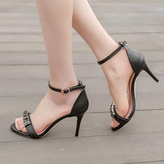 Arden Furtado summer 2019 fashion trend women's shoes stilettos heels sexy crystal rhinestone elegant buckle sandals concise black big size 43