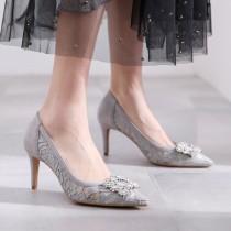 Arden Furtado summer 2019 fashion women's shoes pointed toe stilettos heels lace slip-on grey pumps crystal rhinestone party shoes 40