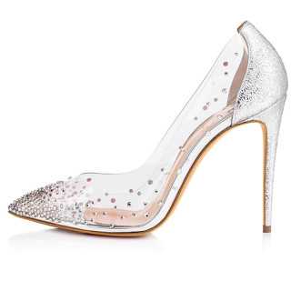 Arden Furtado summer fashion women's shoes pointed toe stilettos heels wedding shoes wholesale high heel sexy pumps for women luxury PVC safety shoes crystal rhinestone big size 45
