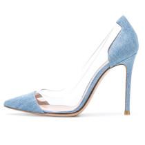 Arden Furtado summer 2019 fashion women's shoes denim blue jeans boots PVC high heels party dress women shoes ladies pointed toe stilettos heels big size 44