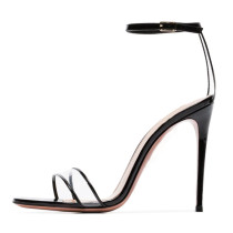 Arden Furtado summer 2019 fashion trend women's shoes custom made sexy transparent PVC with patent pu high heel peep toe ladies sandals narrow band big size 45