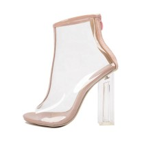 Arden Furtado summer fashion women's shoes comfortable Fashion breathable peep toe chunky heel shoes women zipper transparent PVC boots