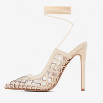 Arden Furtado summer fashion women's shoes custom provided ladies stylish high heels sexy stilettos mesh sandals fishnet shoes