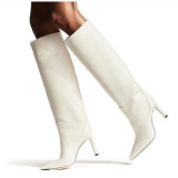 spring autumn high heels stilettos women's shoes white knee high boots ladies sexy booties big size 45