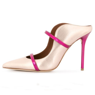 Arden Furtado summer 2019 fashion women's shoes hot design gold and pink leather women high heel pointed toe stilettos heels mules slippers shoes 45