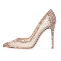 Arden Furtado summer 2019 fashion women's shoes pointed toe nude stilettos heels crystal rhinestone slip-on mesh pumps ladies wedding shoes