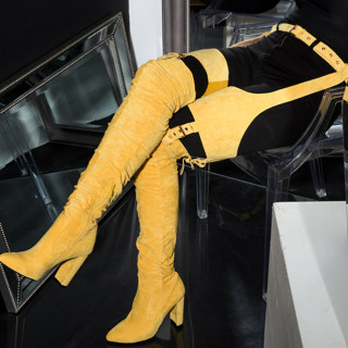 Fashion women's shoes 2019 spring autumn pointed toe chunky heels buckle strap sexy red ladies yellow red pants boots 48