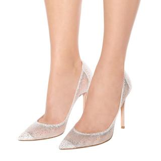 Arden Furtado summer 2019 fashion women's shoes pointed toe white stilettos heels slip-on rhinestone pumps big size 44 shallow mature mesh wedding shoes