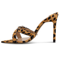 Arden Furtado summer 2019 fashion trend women's shoes leopard print stilettos heels concise mature slippers big size 45 narrow band