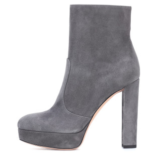 Arden Furtado fashion women's shoes winter chunky heels round toe platform shoes women's grey ankle boots