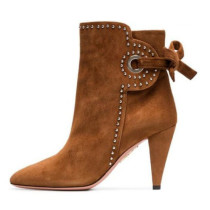 Arden Furtado fashion women's shoes in winter 2019 pointed toe chunky heels concise brown short boots big size 45 sexy pure color elegant ladies boots