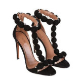 Arden Furtado summer 2021 fashion women's shoes Burgundy zipper stilettos heels Sandals big size 45 party shoes